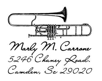 Music Instruments - Personalized Wooden Stamp  - return address - Book Lover - Trombone