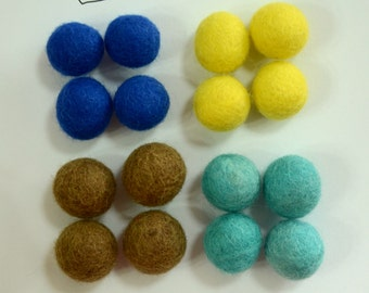 20pcs  2cm Wool Felt Balls (Pick 1 Color) Cobalt Blue, Yellow, Brown, Or Robin Egg Blue