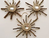 Rustic Snowflake Ornaments Set of 3 Primitive Christmas Decorations