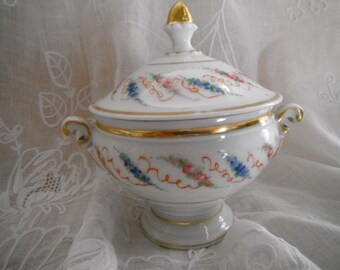 French Vintage Doll Soupier Tureen Veille Paris Gold Porcelaine Collectors Fashion Doll