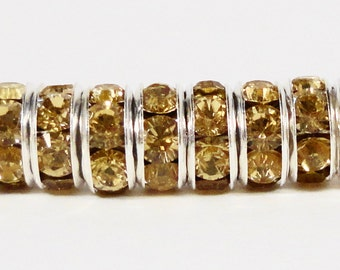 Rhinestone Rondelle Beads 6mm Khaki (Greenish Tan) Silver Plated Metal Acrylic Rhinestone Crystal Spacer Beads 50 Loose Beads per Pack