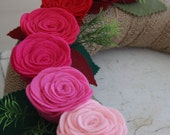 Valentine Burlap Wreath/Ombre/Everyday/Spring/Summer/Felt Flowers/Roses/Leaves