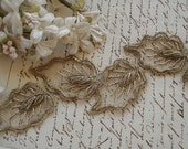 1 Antique c1900's French Passementerie Leaf Silver Bullion Metal Couching Metallic Embroidery Net Lace Millinery Leaves Ribbonwork Applique