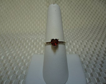 Heart Cut Garnet Ring in Sterling Silver   #1324
