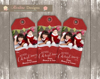 Classic Merry Christmas Photo Gift Tag - Vintage Red (1 Photo) DIGITAL FILE