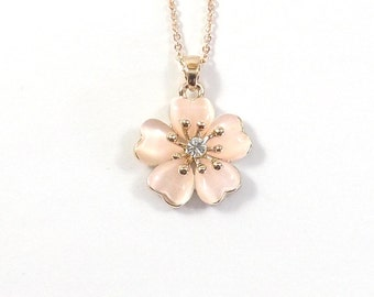 Cherry Blossom Necklace, Sakura Necklace, Cherry Blossom Wedding, Flower Girl Gift, Bridesmaid Jewelry, Bride Necklace, Gift for Mom