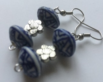 Fine China Blue & White Earrings