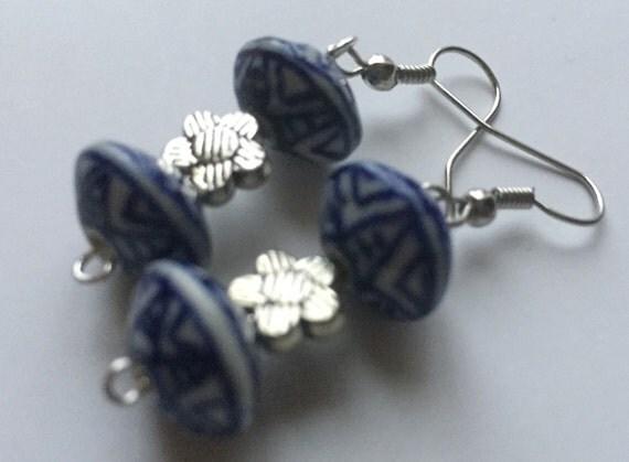 Fine China Blue & White Earrings