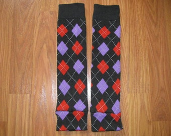 Black, Red, and Purple Argyle Leg Warmers