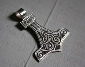 sterling silver pendant, Nordic mythology, hammer of thor, Mjollnir,