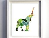 Mosaic elephant print, lime green teal aqua earth tones wall art print unique animal print, abstract animal elephant art, geometric animal
