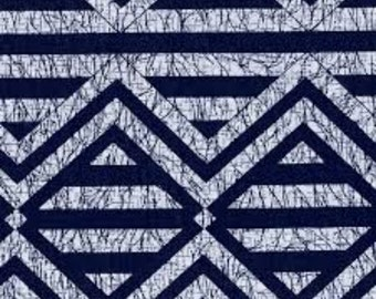 Henry Glass - Indigo Blue Diamond/Stripe Blue 4247 by the Yard