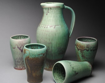Clay Pitcher and Tumbler Set Green K77