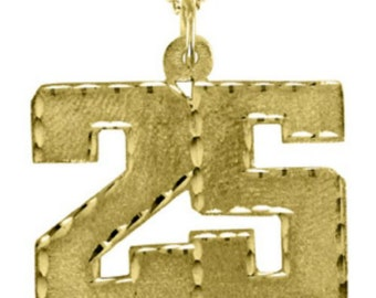 Personalized Number Pendant Necklace  14K Yellow or White Gold 20mm With Chain