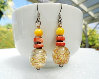 Small Beaded Earrings, Pink and Yellow Dangle Earrings with Pink Coral Chips & Yellow Aragonite Beads, Everyday Jewelry, Minimalist, Casual
