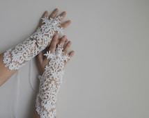 Free ship White Wedding bridal gloves lace gloves fingerless gloves french lace gloves vampire glove