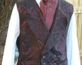 Mens Victorian Double Breasted Brocade Vest Steampunk Regency Cowboy Waistcoat