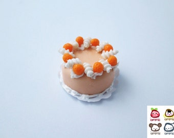Miniature Cake, miniature clay cake, food figurine, miniature clay sweet, polymer clay food, mini, dessert, dollhouse, tiny, scale, orange