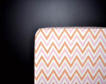 100% organic cotton chevron pink fitted cot sheets