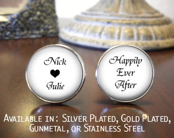 SALE! Groom Cufflinks - Personalized Cufflinks - Wedding Cufflinks - Gift for Groom - Names - Happily Ever After
