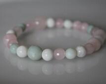 CALMING Healthy Pregnancy Healing Crystal Bracelet - Rose Quartz / Amazonite / Moonstone