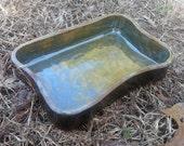 Custom Stoneware Pottery Reptile Bath Water Food Dish - Turtle Tortoise Frog Snake Lizard Terrarium Decoration Decor - Choose Shape- SPARTAN