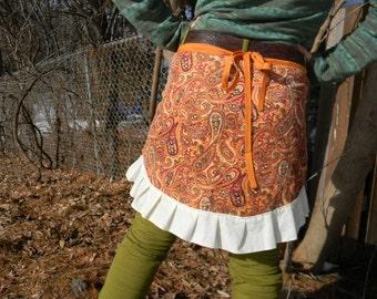 FeildOfPoppies~Wrap SKIRT~upcycled Paisley corduroy~cute spring ruffles