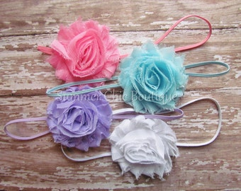 Baby Headband Set of 4, Infant Headband, Toddler Headband, Girls Headband - Shabby Chic Headbands Set of 4 Pastel Baby Headbands