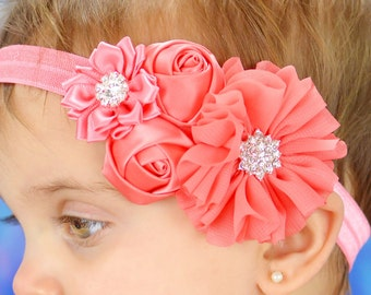Coral Baby Headband, Infant Headband, Newborn Headband, Baby Headband, Toddler Headband, Coral Headband