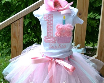 1st birthday cupcake tutu set with a hint of teal