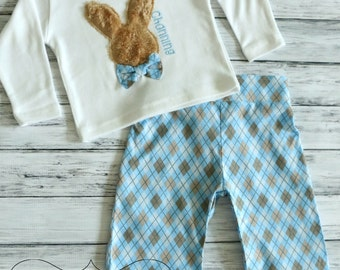 Boys Easter Shirt or Pants Set Easter Outfit Furry Easter Bunny Rabbit