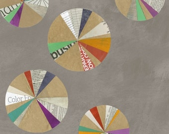 Windham Fabrics Paint Such Multicolor Circles on Gray Yardage