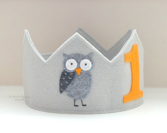 Felt Owl Crown, Birthday Crown, Personalized, First Birthday
