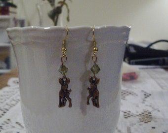 Copper Deer Earrings with Green Crystals