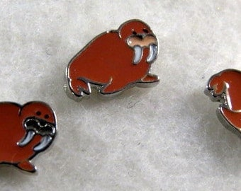 Brown Walrus with tusks Floating Charm