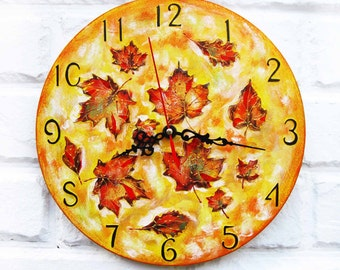 The autumn leaves yellow Wall Clock, White wall clock, wood clock, white home decor, kids gift, for Office, Industrial Kitchen style.