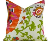 Outdoor/Indoor Pillow Covers ANY SIZE Decorative Pillow Cover Pink Pillow Orange Pillow P Kaufmann Suzani Silsila Lawn