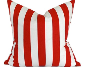 Pillow Covers ANY SIZE Pillow Cover Red and White Stripe Pillows Premier Prints Stripe Canopy Lipstick Red and White