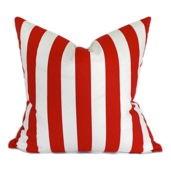 Pillow Covers ANY SIZE Decorative Pillow Cover Red Pillow Premier Prints Stripe Canopy Lipstick Red and White