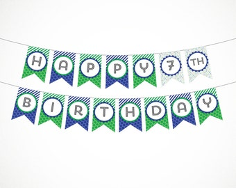 Printable Party Banner, Happy Birthday in Blue & Green