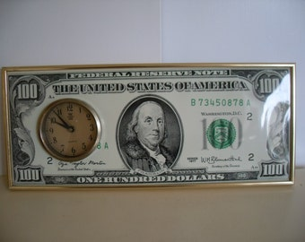 Vintage, Mid century, 100 Dollar Bill Clock, Retro