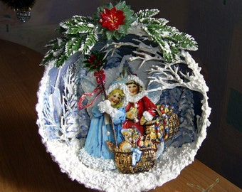 Christmas decorations for the interior.  Miniature composition.  Handcrafted miniature