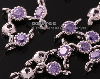 2pcs-7.5mmX3.5mm Rhodium Faceted Glass,CZ,Dangle,Birth stone connectors-Amethyst(M353S-A)