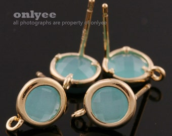 2pcs/1 pair-9mmX7mmGold plated faceted Round glass post earrings-Mint(M355G-D)