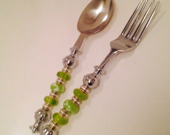 Beaded fork and spoon