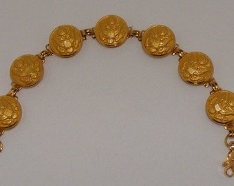 Grandmother's Button Collection - 19th Century Military Button Bracelet