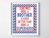Superhero Big Brother Print-Boys Room Wall Art from paper and palette
