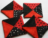 Folded Fabric Coasters ;  Mug Rugs ;  Candle Mats ; Red Coasters ; Black Coasters ; Home Décor ; Little Quilts ; Four Coasters