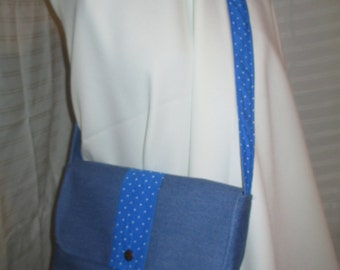 Light Cotton Denim Fabric w/blue and white polkadots Lining and front stip Messenger/Shoulder Bag (Country Look )