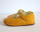 Vintage Baby Leather Shoes Spring Summer Yellow Varnished